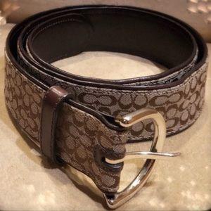 Coach brown woven jacquard logo belt leather
